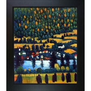 Gustav Klimt 'Pendio Montano a Unterach ' Hand Painted Framed Canvas Art