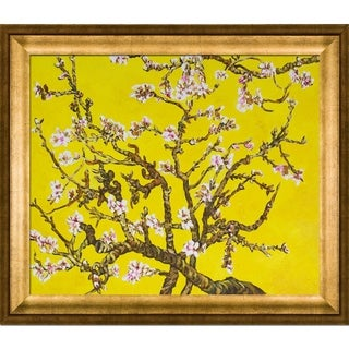 Vincent Van Gogh 'Branches Of An Almond Tree In Blossom (Artist Interpretation in Yellow) ' Hand Painted Framed Canvas Art