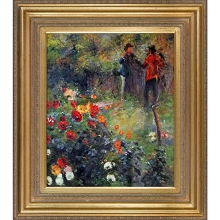 Pierre-Auguste Renoir 'Garden in the Rue Cortot Montmartre ' Hand Painted Framed Canvas Art