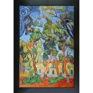 Vincent Van Gogh 'Trees in the Garden of St. Paul Hospital ' Hand Painted Framed Canvas Art