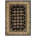 Black/ Beige Floral Wool Area Rug (9'9 x 13'9)