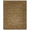Green/ Brown Floral Wool Area Rug (7'9 x 9'9)