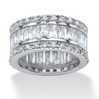 PalmBeach 9.34 TCW Round and Emerald-Cut Cubic Zirconia Platinum-Plated Eternity Band Ring Glam CZ
