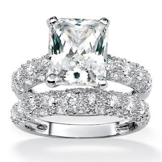 PalmBeach 6.50 TCW Emerald-Cut Cubic Zirconia Platinum-Plated Bridal Engagement Ring Wedding Band Set Glam CZ