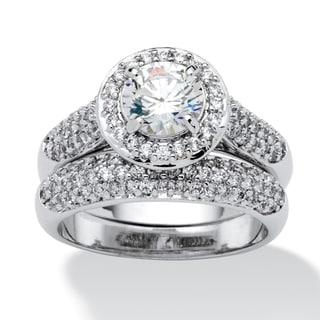 PalmBeach 2.30 TCW Round Cubic Zirconia Pave Platinum-Plated Bridal Engagement Ring Wedding Band Set Glam CZ