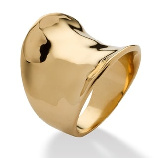 PalmBeach Gold Overlay Concave Cigar Band Ring Tailored