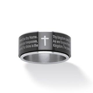 PalmBeach Stainless Steel Lord's Prayer Spinner Ring Tailored