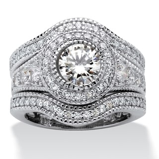 Ultimate Platinum Over Silver 3-piece 2.73ct TGW Cubic Zirconia Halo Ring Set
