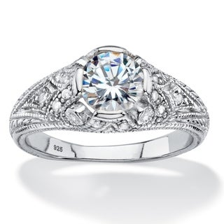 PalmBeach 1.75 TCW Round Cubic Zirconia Vintage Style Ring in Sterling Silver Classic CZ