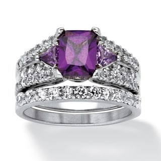 Ultimate Sterling Silver 3.91ct TGW Purple Cubic Zirconia 2-piece Ring Set