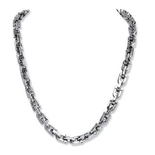 """PalmBeach Men's Interlocking Link Chain in Stainless Steel 24"""""""