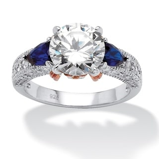 PalmBeach 4.28 TCW Round Cubic Zirconia and Sapphire Ring in Sterling Silver and Rose Gold-Plated Classic CZ