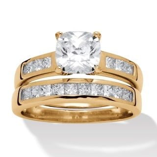 Ultimate Gold Over Silver 1 7/8ct TGW Cubic Zirconia 2-piece Ring Set