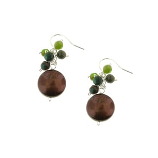 Handmade Sterling Silver Faceted Green Agate and Coin Pearl (10 mm) Dangle Earrings (USA)
