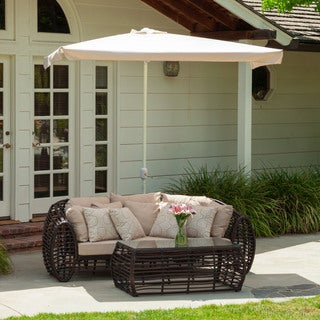 Christopher Knight Home Outdoor Nogales Half Canopy Umbrella with Base