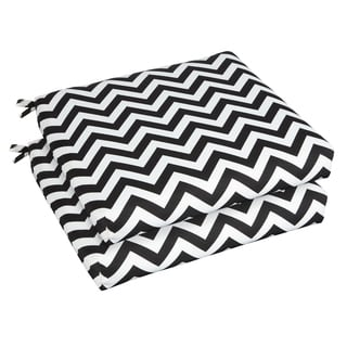 Bristol 19-inch Indoor/ Outdoor Black Chevron Chair Cushion Set
