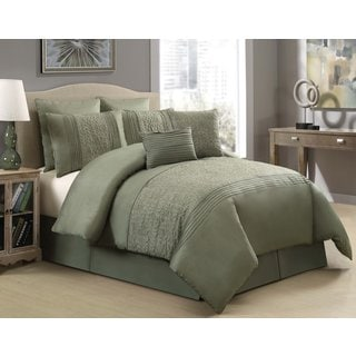 Hillside Green Embroidered 8-piece Comforter Set