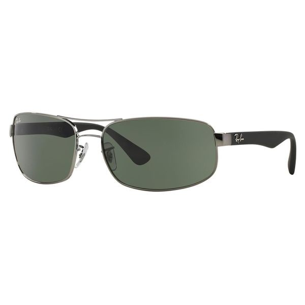 Ray Ban 'RB 3445 4' Gunmetal/ Black and Green G-15 Lens Sunglasses