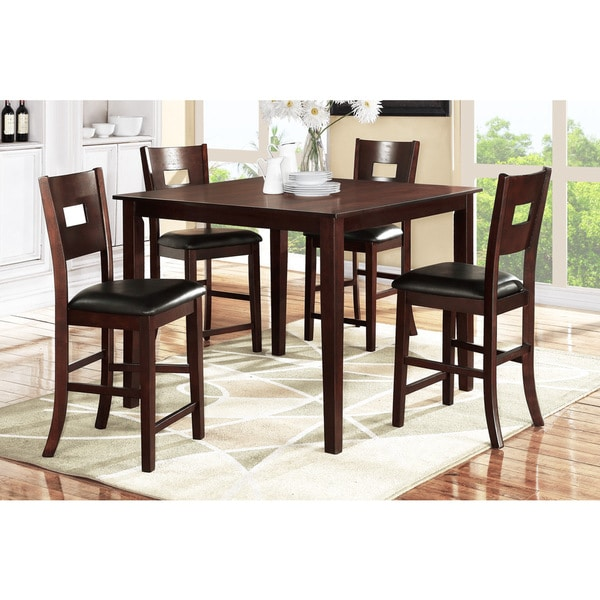 Debrecen 5piece Dark Brown Wood Finish Counter Height Dining Set