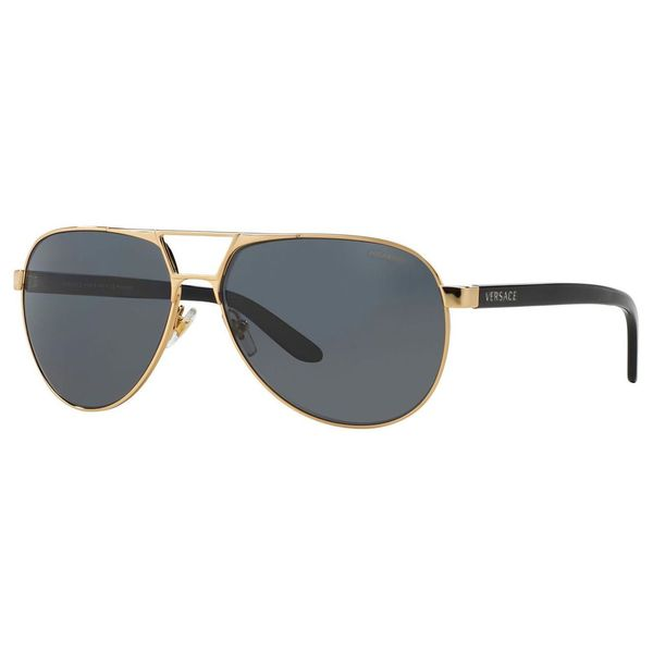 Versace Women's Gold/ Grey Polarized Aviator Sunglasses