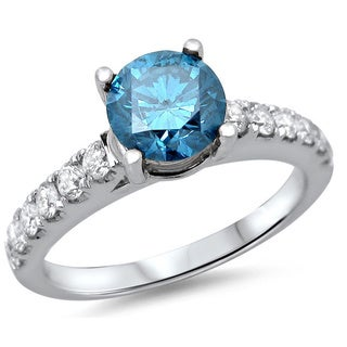 18k White Gold 1 1/4ct TDW Blue Round Diamond Solitaire Ring (SI1-SI2)
