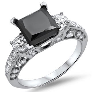 18k White Gold 2 1/8ct TDW Black Princess-cut Diamond Ring (SI1-SI2)