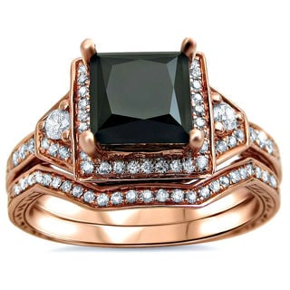 14k Rose Gold 2ct TDW Black Princess-cut Diamond 2-piece Bridal Set (G-H, SI1-SI2)