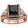 14k Rose Gold 2ct TDW Black Princess-cut Diamond 2-piece Bridal Set (G-H, SI1-SI2)