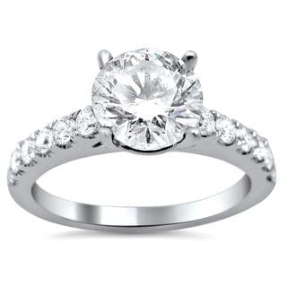 18k White Gold 1 1/2ct TDW Round Enhanced Center Stone Diamond Engagement Ring (G-H, SI1-SI2)