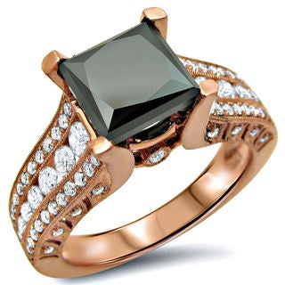 14k Rose Gold 3 1/6ct Black Princess-cut Diamond Engagement Ring (SI1-SI2)