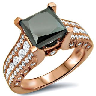 Noori 14k Rose Gold 3 1/6ct Black Princess-cut Diamond Engagement Ring (SI1-SI2)