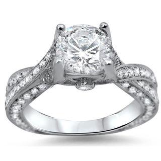Noori 14k White Gold 1 6/10ct TDW Round Diamond Engagement Ring (G-H, SI1-SI2)