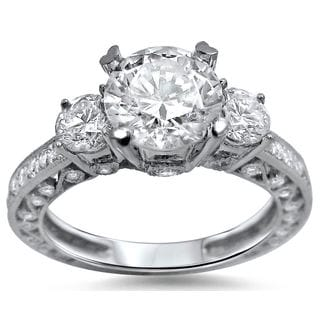 Noori 18k White Gold Enhanced 2 ct TDW 3-stone Round Diamond Engagement Ring (G-H, SI1-SI2)