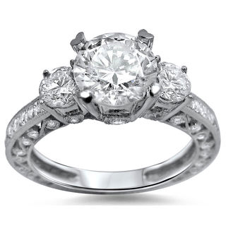 Noori 18k White Gold Enhanced 2 1/4ct TDW 3-stone Round Diamond Engagement Ring (G-H, SI1-SI2)