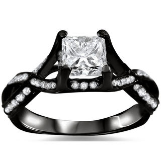 Noori 18k Black Gold 1ct TDW Princess-cut Diamond Engagement Ring (G-H, SI1-SI2)