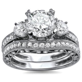 Noori 18k White Gold 2 3/5ct TDW Round Diamond 3-stone Engagement Ring Bridal Set (G-H, SI1-SI2)