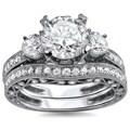18k White Gold 2 3/5ct TDW Round Diamond 3-stone Engagement Ring Bridal Set (G-H, SI1-SI2)