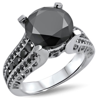 14k White Gold 3 4/5ct TDW Black Round-cut Diamond Ring (VS1-VS2)