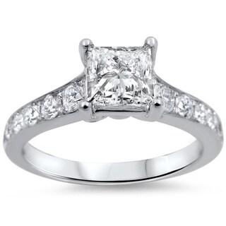 14k White Gold 1 1/4ct TDW Princess-cut Diamond Engagement Ring (G-H, SI1-SI2)