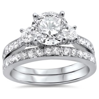 Noori 18k White Gold 2ct TDW Round Diamond Bridal Set (G-H, SI1-SI2)