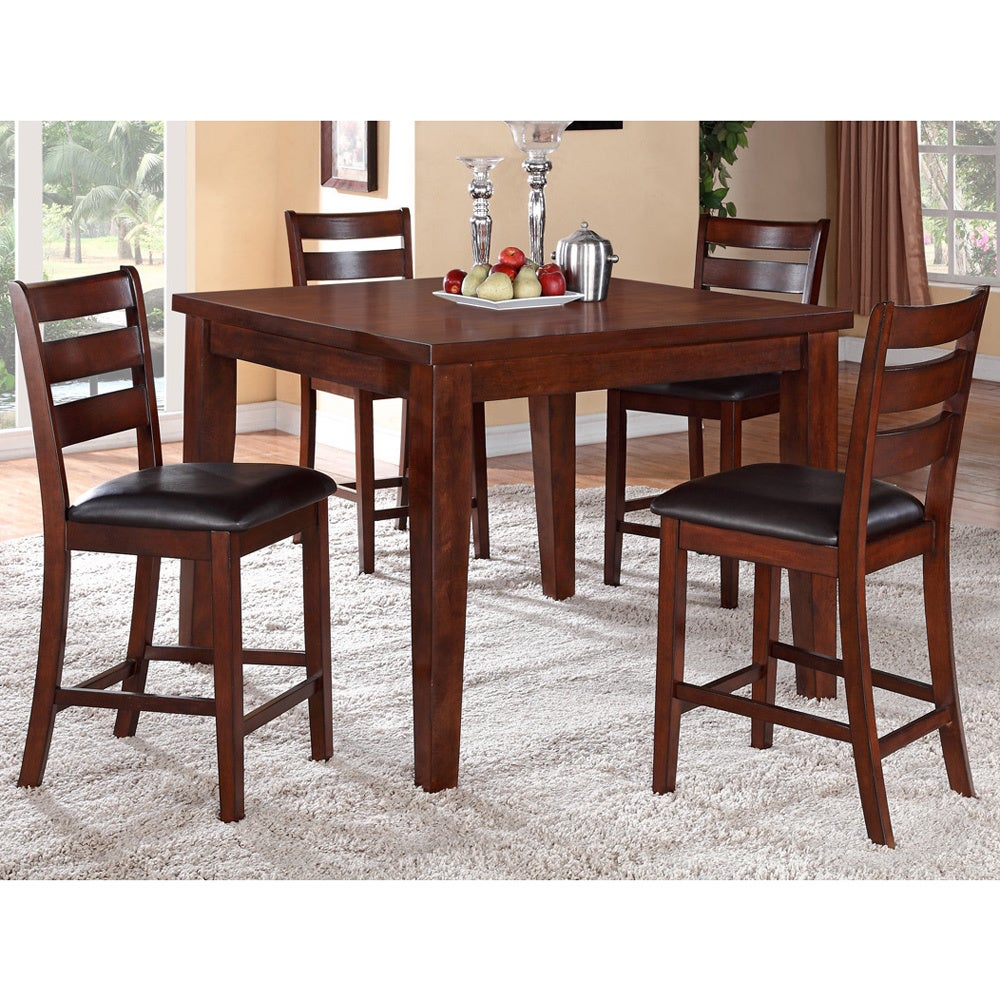 Walnut Wood Finish Counter Height Dining Set Walnut Size 5 Piece Sets