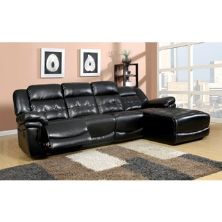 Brus Sectional with Recliner Upholstered in Black Bonded Leather