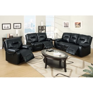Chambery Power Motion Reclining Set Upholstered in Black Padded Leatherette