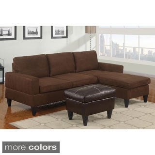 Hesse Reversible Sectional Sofa in Microfiber Finish with Ottoman