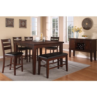 Lida 7-piece Antique Walnut Finished Counter Height Dining Room Set