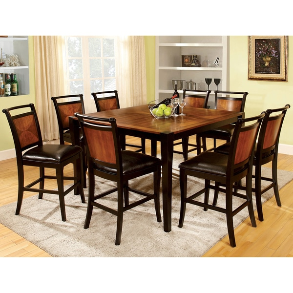 Lommel 9 Piece Counter Height Dining Set In Acacia Amp Black