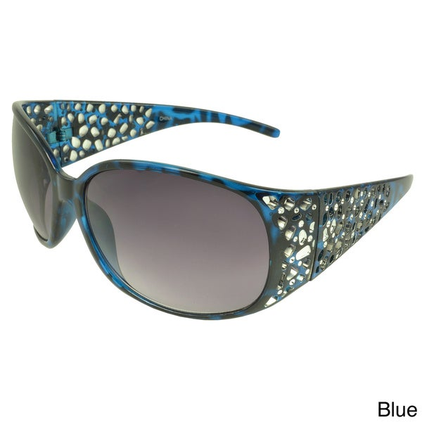 EPIC Eyewear Women's 'Erin' Metallic Accent Shield Sunglasses