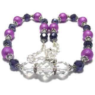 Violet Glass Pearl and Dark Purple Crystal 4-piece Wedding Jewelry Set