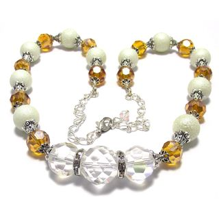 Texture Glass Pearl and Amber Crystal 4-piece Wedding Jewelry Set