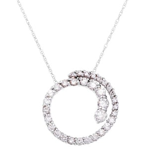 SummerRose 14k White Gold 1ct TDW White Diamond Graduating Pendant Necklace (G-H, SI1-SI2)